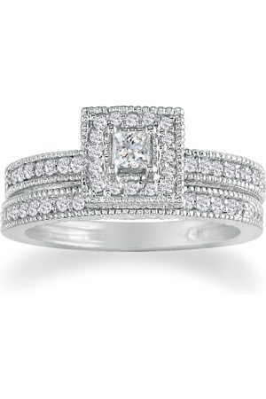 SuperJeweler 1 Carat Princess Cut Diamond Bridal Engagement Ring Set in 14k (7.4 g) (