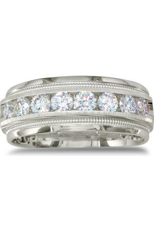 SuperJeweler Men Rings - Heavy Men's Wedding Band w/ 1 Carat Channel Set Diamonds