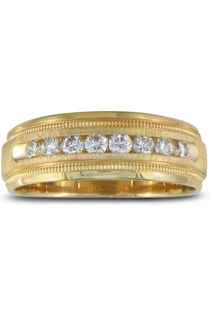 SuperJeweler Heavy Men's Wedding Band w/ 1/2 Carat Channel Set Diamond Yellow Golds