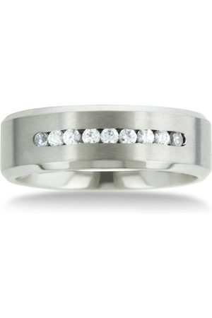 SuperJeweler 8 MM Men's Titanium ring wedding band w/ 9 large Channel Set CZ by