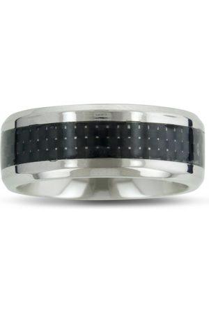 SuperJeweler 8MM Men's Titanium Carbide Ring Wedding Band W/ Carbon Fiber Inlay by