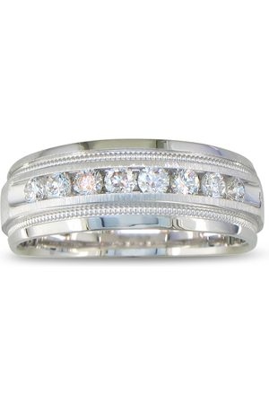 SuperJeweler Heavy Men's Wedding Band w/ 1/2 Carat Channel Set Diamond White Golds