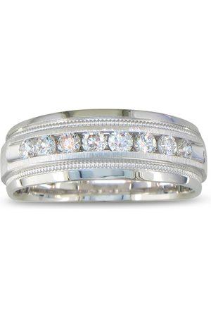 SuperJeweler Men Rings - Heavy Men's Wedding Band w/ 1/2 Carat Channel Set Diamond White Golds