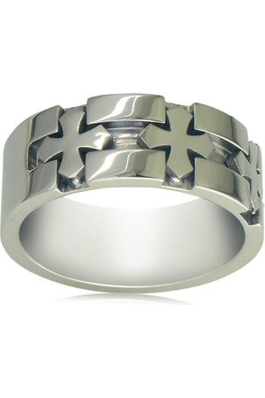SuperJeweler Men Rings - Men's Titanium Cross Wedding Band by