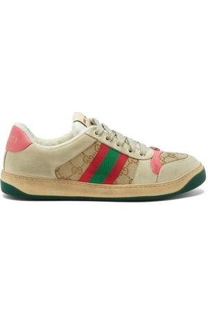 Gucci Screener Gg-logo Distressed-leather Trainers - Womens - Multi