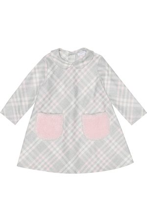 Il gufo Baby faux fur-trimmed checked dress