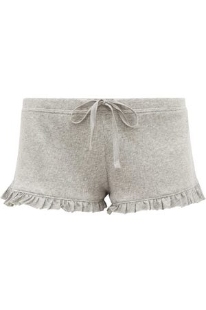 SKIN Raffaela Ruffle-trimmed Pima-cotton Shorts - Womens - Light Grey