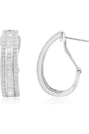 SuperJeweler 2 Carat Baguette & Round Diamond Hoop Earrings in Sterling