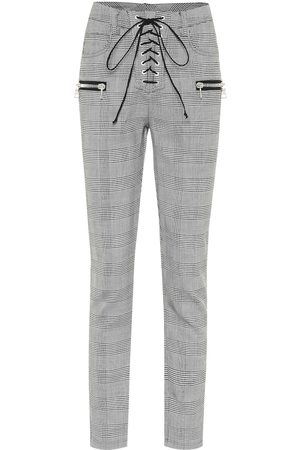 UNRAVEL Checked wool-blend skinny pants