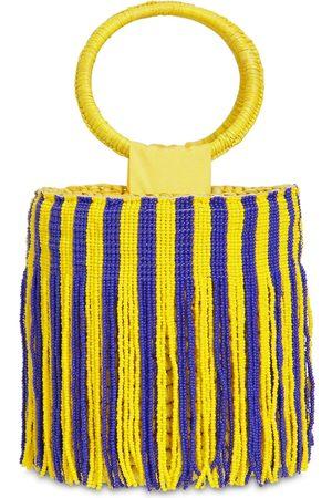 SENSI STUDIO Mini Striped Bucket Bag W/ Beaded Fringe
