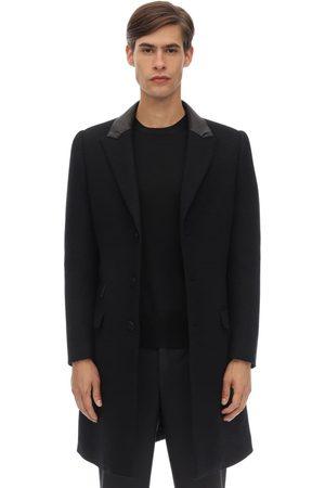 Neil Barrett Skinny Wool Blend Cloth Coat W/ Leather