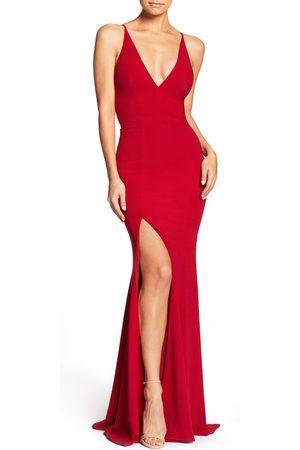 Dress The Population Women's Iris Slit Crepe Gown