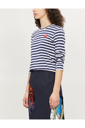 Comme des Garçons Ladies Navy and Heart-Embroidered Striped Cotton-Jersey Top