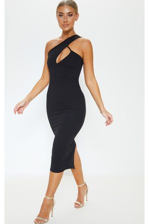 PRETTYLITTLETHING One Shoulder Asymmetric Neck Midi Dress