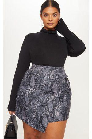PRETTYLITTLETHING Plus Grey Snake Print Button Detail Wrap Mini Skirt