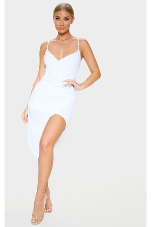 PRETTYLITTLETHING Lauriell Wrap Front Crepe Midi Dress