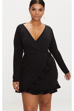 PRETTYLITTLETHING Plus Long Sleeve Ruffle Wrap Dress