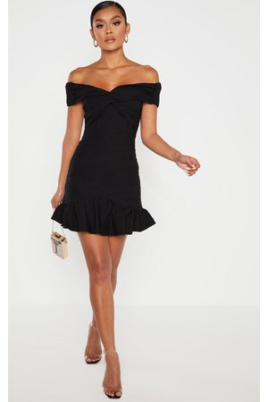 PRETTYLITTLETHING Bardot Shirred Pleated Bodycon Dress