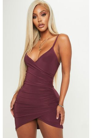 PRETTYLITTLETHING Shape Burgundy Ruched Side Strappy Bodycon Dress