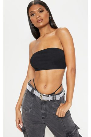 PRETTYLITTLETHING Women Strapless Tops - Basic Rib Bandeau Crop Top