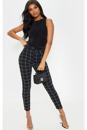 PRETTYLITTLETHING Tweed Check Paperbag Skinny Pants