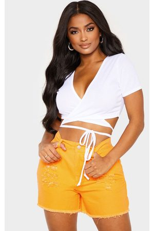 PRETTYLITTLETHING Shape Ribbed Short Sleeve Wrap Waist Crop Top