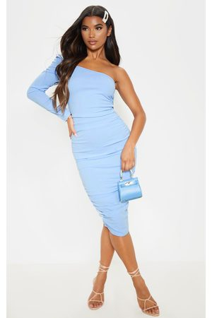 PRETTYLITTLETHING Dusty One Shoulder Ruched Detail Midi Dress