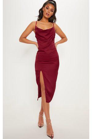 PRETTYLITTLETHING Burgundy Strappy Satin Cowl Midi Dress