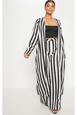 PRETTYLITTLETHING Plus Striped Longline Duster Jacket