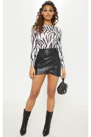 PRETTYLITTLETHING Tall Snake Effect Faux Leather Wrap Skirt