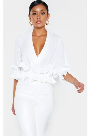 PRETTYLITTLETHING Frill Detail Pleated Blouse