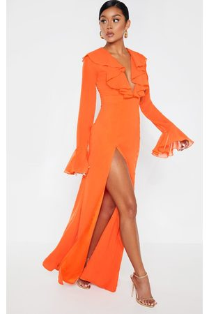 PRETTYLITTLETHING Bright Plunge Frill Maxi Dress