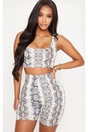 PRETTYLITTLETHING Shape Taupe Snake Jersey Scoop Neck Crop Top