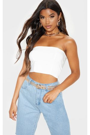 PRETTYLITTLETHING Helsa Cream Slinky Bandeau Crop Top