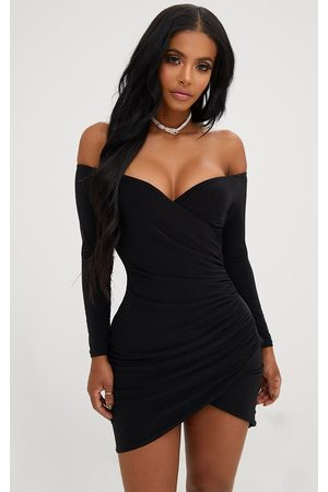 PRETTYLITTLETHING Shape Ruched Bardot Bodycon Dress