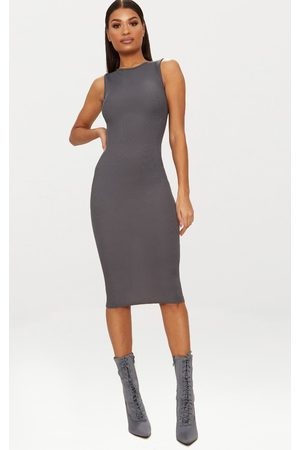 PRETTYLITTLETHING Charcoal Grey Ribbed Neck Midi Dress