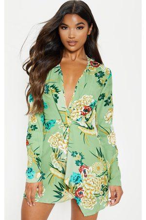 PRETTYLITTLETHING Sage Printed Long Sleeve Wrap Dress
