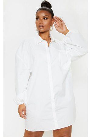PRETTYLITTLETHING Plus Oversized Puff Sleeve Shirt Dress