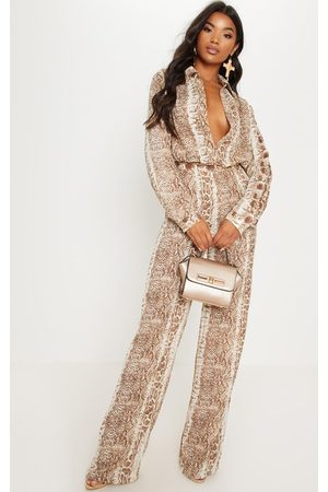 PRETTYLITTLETHING Chocolate Snake Print Wide Leg Pants