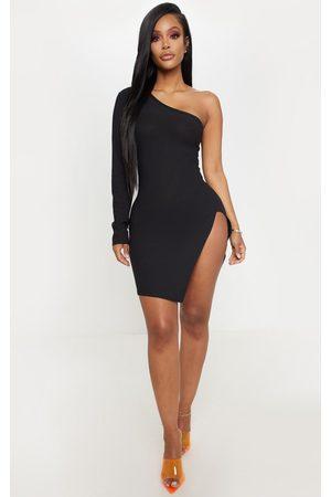 PRETTYLITTLETHING Shape One Shoulder Split Bodycon Dress