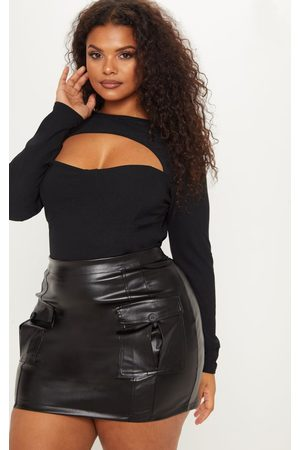 PRETTYLITTLETHING Plus Faux Leather Cargo Pocket Front Mini Skirt