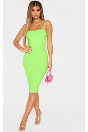 PRETTYLITTLETHING Women Midi Dresses - Neon Lime Strappy Midi Dress