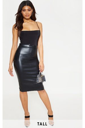 PRETTYLITTLETHING Tall Faux Leather Panel Midi Skirt