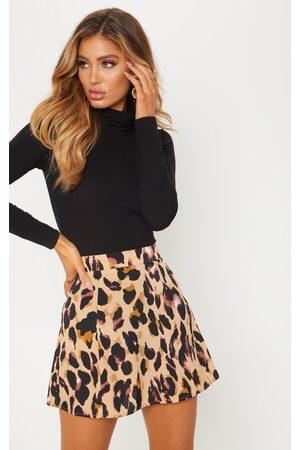 PRETTYLITTLETHING Women Printed Skirts - Leopard Print Satin Mini Skirt