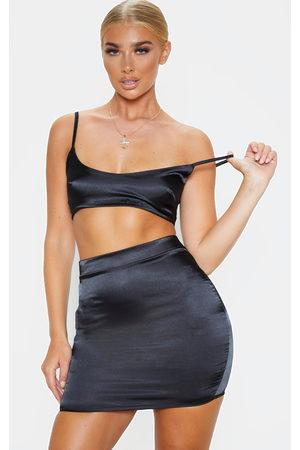 PRETTYLITTLETHING Satin High Waist Mini Skirt
