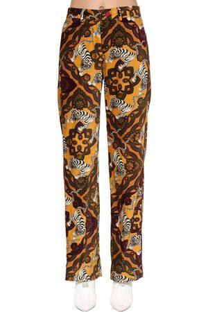 F.R.S For Restless Sleepers Women Pants - Printed Cotton Velvet Pants