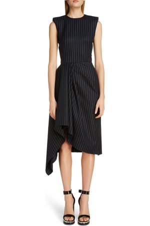 Alexander McQueen Women Asymmetrical Dresses - Women's Pinstripe Asymmetrical Drape Midi Dress