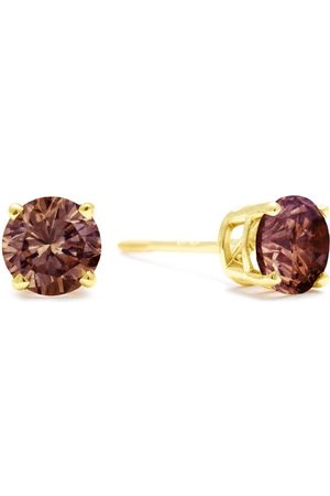 SuperJeweler 1 Carat Chocolate Bar Brown Champagne Diamond Stud Earrings in 14k by