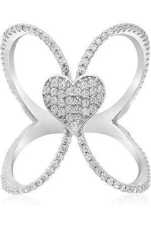 SuperJeweler Sterling Silver Cubic Zirconia Open Shank Heart Ring