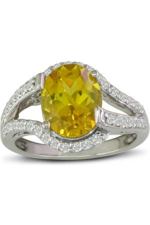 SuperJeweler Split Band 3 Carat Oval Cut Lemon Quartz & Diamond Ring